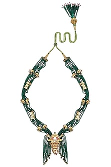 Gold Plated Green Onyx Palanquin Necklace by Ra Abta