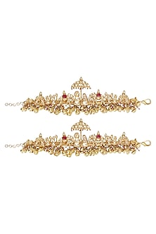 Gold Plated Bride and Groom Motif Anklets by Ra Abta