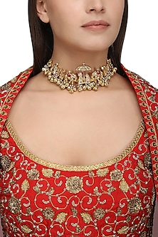 Gold Plated Kundan and Ghungroo Bride and Groom Choker Necklace by Ra Abta