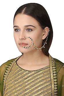 Gold Plated Green Onyx Tabla Nose Ring by Ra Abta