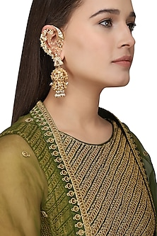 Gold Plated Kundan and Pearls Shehnai Earrings