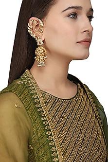 Gold Plated Kundan and Pearls Shehnai Earrings by Ra Abta