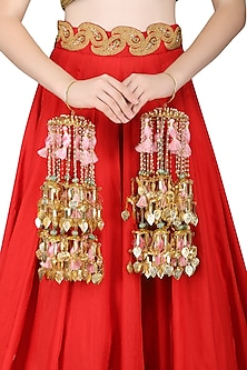 Gold Plated Jaali Work Pearls and Tassel Kaleeras