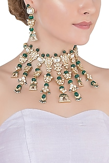 Gold Plated Polki Necklace Set by Ra Abta