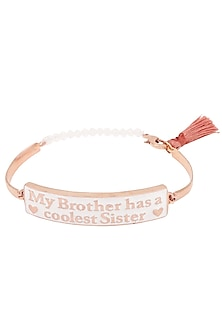 Rose Gold Plated 'My Brother Has A Coolest Sister' Rakhi by Ra Abta