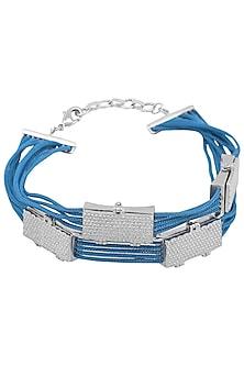 Silver Plated Blue Thread Embossed Rakhi