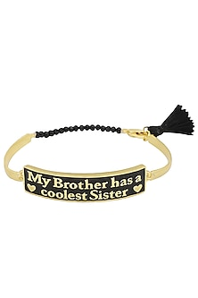 Gold and Black Plated 'My Brother Has A Coolest Sister' Rakhi by Ra Abta