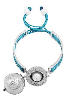 Silver Plated Turquoise Thread Globe Rakhi by Ra Abta