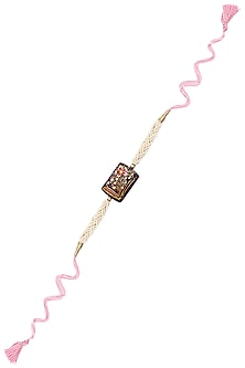 Pink Thread String Tanjore Quartz Stone with Floral Motif Rakhi by Ra Abta