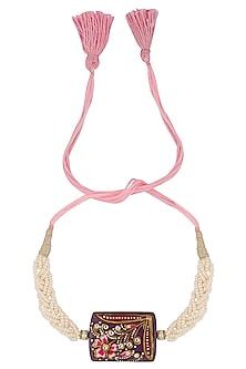 Pink Thread String Tanjore Quartz Stone with Floral Motif Rakhi by Ra Abta