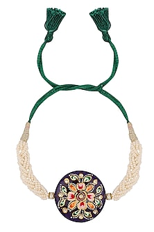 Green Thread String Tanjore Quartz Stone with Floral Motif Rakhi