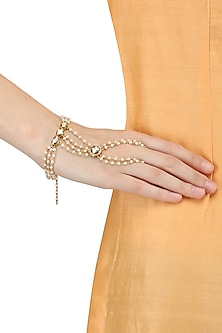 Set Of 2 Gold Plated Pearl Hand Harness