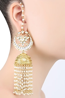 Gold Plated Kundan Jhumki Piroi Earrings by Ra Abta