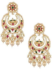 Gold Plated Kundan and Multicolored Stones Mughal Chandbali Earrings by Ra Abta