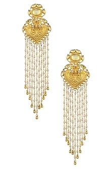 Gold Plated Temple Motif Jhalar Earrings by Ra Abta