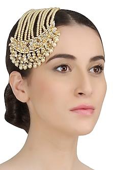 Gold Plated Kundan And Shell Pearls Studded Royal Persian Paasa by Ra Abta