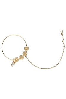 Gold Plated Handcrafted Mughal 4 Flower Nath With Pearl Drops by Ra Abta