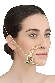 Gold Plated Handcrafted Kundan, Emerald And Stimulated Rubies Studded Mughal Bridal Nath by Ra Abta