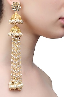 Gold plated double jhumki pearl chain earrings by Ra Abta