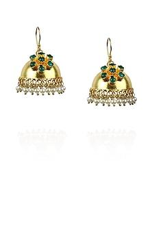 Gold plated green onyx jhumki earrings by Ra Abta
