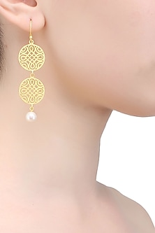 Gold plated geometric filigree earrings by Ra Abta