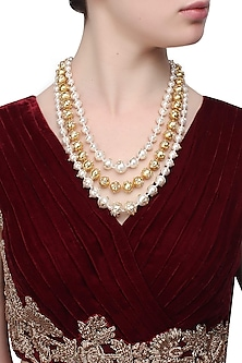 Gold plated shell pearls and kundan work 3 layer necklace by Ra Abta
