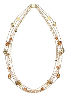 Gold Plated Ornamental Jali Motifs Pearl Strand Necklace by Ra Abta