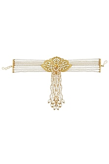 Gold Plated Textured Orchid Flower And Pearl Strings Drop Hanging Armlet by Ra Abta