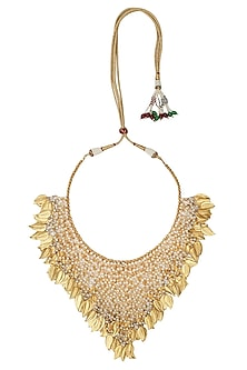 Gold Plated Leaf Cascade Necklace by Ra Abta