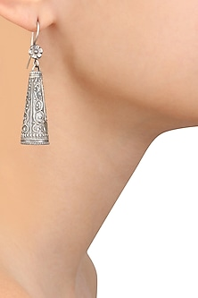 Silver Engraved Cone Earrings