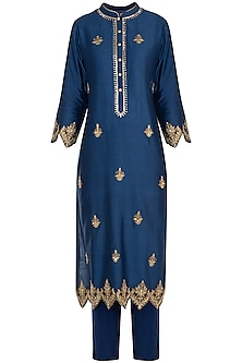 Indigo embroidered kurta set