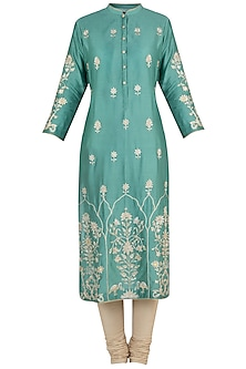 Moss green embroidered tunic