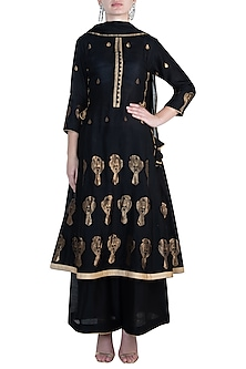Black embroidered anarkali set by RAR STUDIO