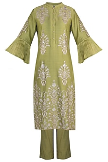 Olive embroidered kurta set