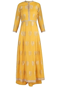Yellow embroidered anarkali set by RAR STUDIO