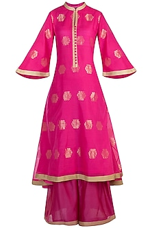 Fuchsia embroidered tunic