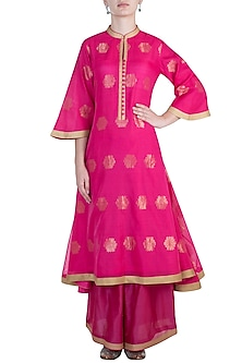 Fuchsia embroidered tunic by RAR STUDIO