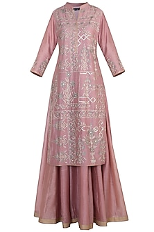Old rose embroidered anarkali set