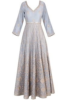 Grey embroidered anarkali set by RAR STUDIO