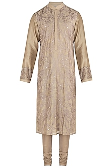 Beige Embroidered Kurta Set by RAR Studio Men