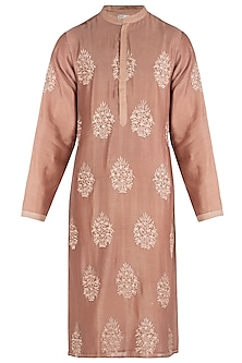 Brown Embroidered Kurta by RAR Studio Men