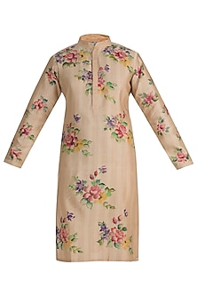 Beige Hand Painted Kurta by RAR Studio Men