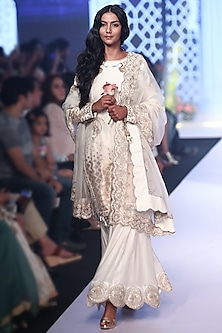 Ivory Embroidered Sharara Set by RAR Studio