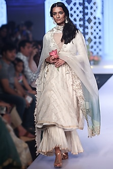 Ivory Embroidered Bandhani Anarkali Set by RAR Studio
