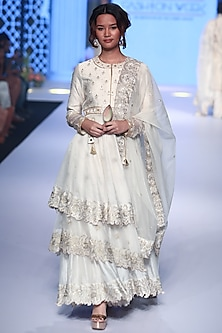 Ivory Embroidered Layered Anarkali Set by RAR Studio