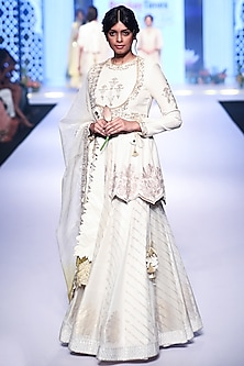 Ivory Embroidered Leheriya Lehenga Set by RAR Studio