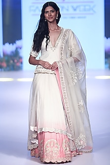Ivory Embroidered Ombre Lehenga Set by RAR Studio