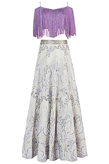 Lavender and White Embroidered Lehenga Set