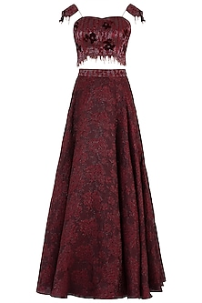 Maroon Embroidered Lehenga Set<br />