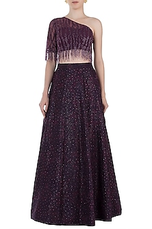 Purple Embroidered Lehenga Set by Rebecca Dewan